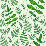 Seamless pattern with green leaves Stock Image