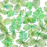 Seamless pattern with green leaves. Stock Photos