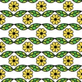 Seamless pattern with green leaves and flowers Stock Images