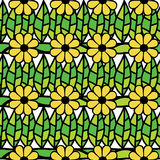 Seamless pattern with green leaves and flowers Royalty Free Stock Photo