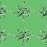 Seamless pattern of green leaves and flowers on a green background. Geometric. Watercolor Stock Photos