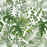 Seamless pattern of green leaves. green tropical background in w. Atercolor style. Vector natural, Botanical, elegant pattern.