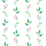 Seamless pattern of green leaves and pink flowers Stock Photo
