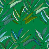 Seamless pattern with green leaves. Vector illustration Royalty Free Stock Photo