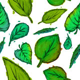 Seamless Pattern of Green Leaves Watercolor. Art Royalty Free Stock Photography
