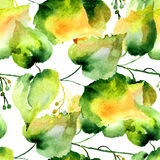 Seamless pattern of green linden leaves. Watercolor painting Royalty Free Stock Image