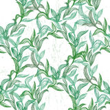 Seamless pattern with green line leaves Stock Photography