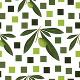 Seamless pattern with green olive tree and squares Stock Image