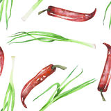 A seamless pattern with the  green onion and red chili peppers Stock Images