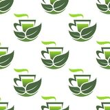 Seamless pattern of green organic tea Stock Photo