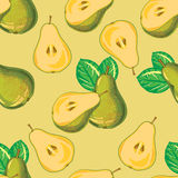Seamless pattern of green pear Stock Photos