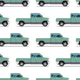 Seamless pattern of green pickup truck Stock Photography