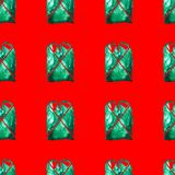 Seamless pattern of green plastic bag on red background stock image