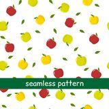 Seamless pattern of green and red apples and leaves on a white background. Vector illustration, a flat style Stock Photo