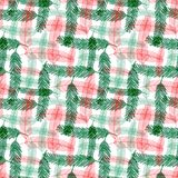 Seamless pattern with green and red fir tree branches. Vector checkered for Christmas textile design. Royalty Free Stock Image