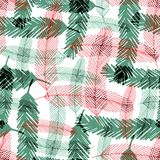 Seamless pattern with green and red fir tree branches. Vector checkered texture for Christmas textile design. Stock Photo