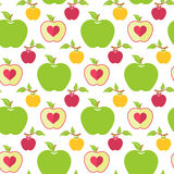 Seamless pattern with green, red and yellow apples. Seamless pattern with apples on the white background - Vector illustration. Seamless cute bright colorful Stock Photography