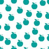 Seamless pattern from green ripe apples with a leaf on a white background. Design for textiles, banners, posters, labels vector illustration