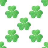 Seamless pattern of green shamrocks clover Stock Image