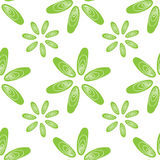 Seamless pattern green shells mussels flowers Stock Image