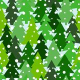 Seamless pattern with green silhouettes of fir-trees and pines. Winter forest background. Scrapbook digital paper. Textile print, page fill. Vector Stock Photo