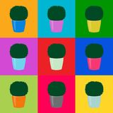 Seamless pattern green topiary trees pop art, vector eps 10. Seamless floral pattern green topiary plants in colorful pots on squares. Decorative potted royalty free illustration