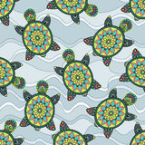 Seamless pattern with green turtles in the sea waves. Can be used for wallpaper, pattern fills, web page background,surface textures. Vector Stock Images