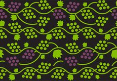 Seamless pattern with green and violet grapes. Minimalism and scandinavian style. Background design for textile, wrapping paper Stock Image