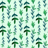 Seamless pattern with green  watercolor leaves Stock Photo