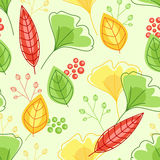 Seamless pattern with green and yellow leaves Stock Image