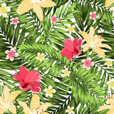 Seamless pattern greenery tropical leaves flowers Royalty Free Stock Photos