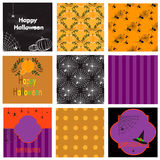 Seamless pattern and greeting cards for Halloween Stock Photos