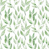 Seamless pattern with grenn watercolor leaves. Summer illustration. Seamless pattern with grenn watercolor leaves. Summer Hand drawn illustration Royalty Free Stock Photos