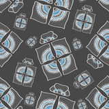Seamless pattern grey and blue ornamental present box Royalty Free Stock Photography