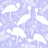 Seamless pattern Grey crowned crane, Black crowned crane with grass and flowers white silhouette on Purple lilac background for si. Te, blog, fabric. Vector Royalty Free Stock Photos