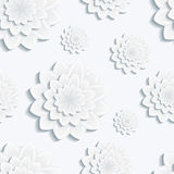 Seamless pattern with grey 3d flower chrysanthemum Stock Images