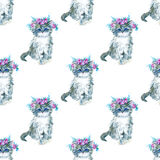 Seamless pattern with grey kitty and flower wreath. Watercolor hand drawn illustration.Cat on a white background Stock Photos