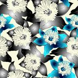 Seamless pattern with grey narcissus Royalty Free Stock Photography
