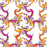 Seamless pattern grid with Caribbean fun dancing parrot. vector Royalty Free Stock Photos
