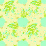 Seamless pattern - grid with a lily on a blue background. vector Stock Photos