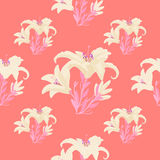 Seamless pattern - grid with a lily on a pink background. vector Royalty Free Stock Image