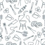 Seamless pattern Grill, barbecue tools, food. BBQ. Seamless pattern with grill and barbecue tools, food. BBQ party background. Design for party card, banner stock illustration