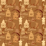 Seamless pattern with grinder, coffee stain, calligraphic text C Stock Photo