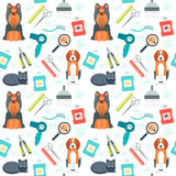 Seamless pattern. Grooming for animals. Pet care. Flat design. Vector Royalty Free Stock Image