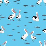 Seamless pattern. Groups of pelican birds and fish flocks on a blue background. royalty free illustration