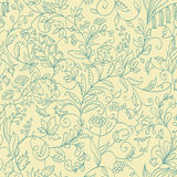 Seamless pattern growing from each other  different flowers. Seamless line pattern growing from each other  different flowers Stock Photo