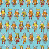 Seamless pattern with grumpy dangerous vikings Royalty Free Stock Photos