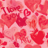 Seamless pattern with grunge aquarelle hearts and words  I LOVE Stock Photography