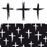 Seamless pattern with grunge crosses Royalty Free Stock Photos