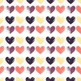 Eamless pattern with grunge hearts. Seamless pattern with grunge hearts. design for Valentine`s Day Stock Photos